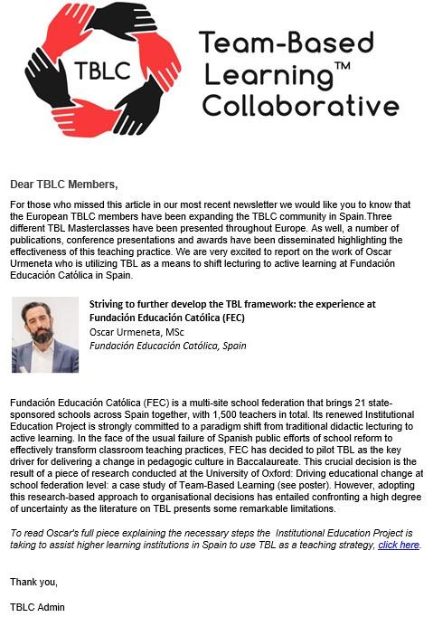 TBLC Newsletter 19: editorial del presidente.