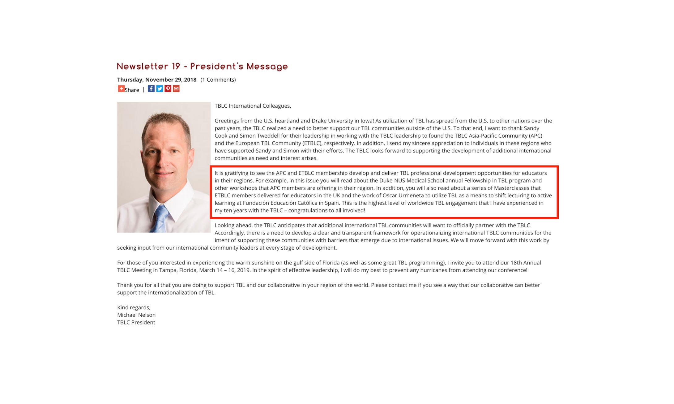 TBLC Newsletter 19: editorial del presidente